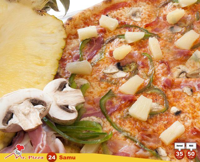 #24 -Samu tomato . mozzarella . bacon . fresh mushrooms . pineapple . green pepper . oregano