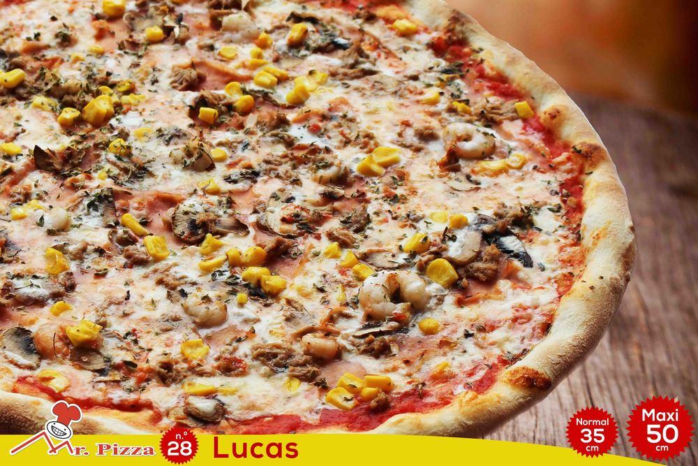 #28 - Lucas  tomate . mozzarella . fiambre . cogumelos frescos . atum . camarão . milho . natas . oregãos
