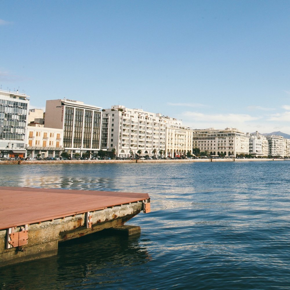 A view of the promenade of Thessaloniki from the city's port.