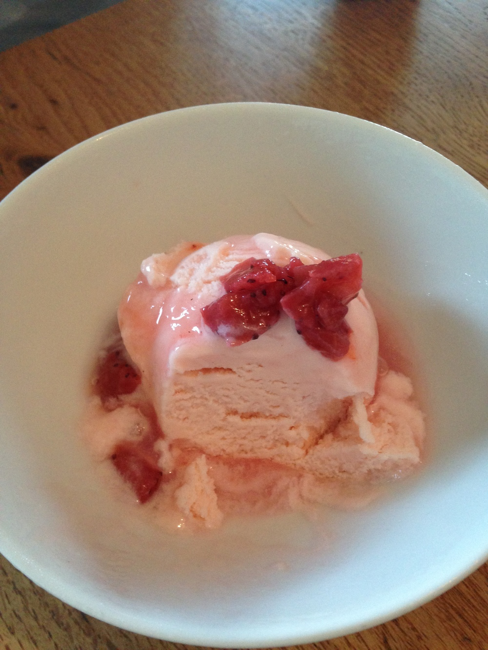 Worst photo yet -- this is rose petal ice cream with pickled strawberries and rhubarb. It tastes 10000000x better than it looks right here.