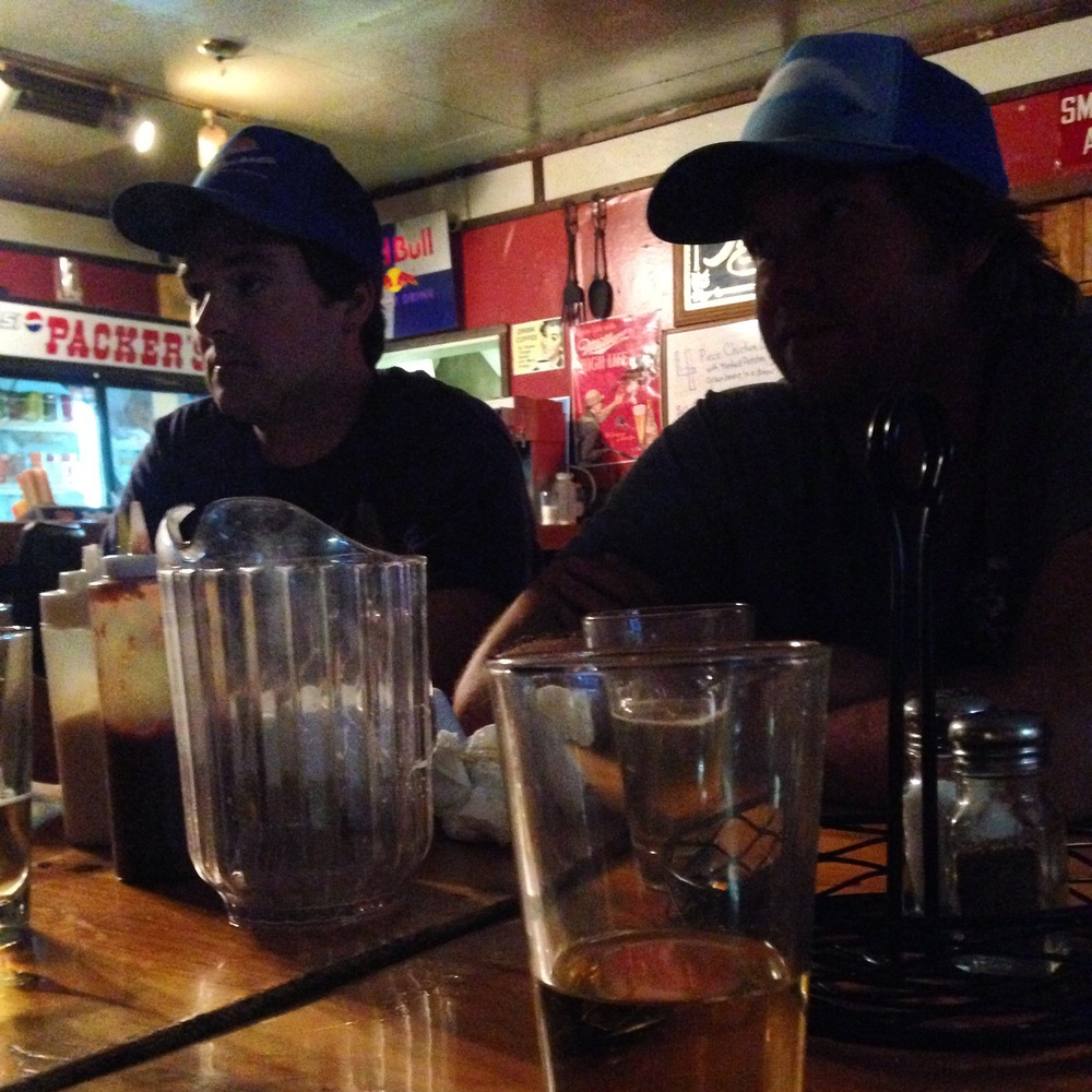 I take terrible photos late at night in bars. Here are some of my new dude friends in trucker hats at Packer's Roost.