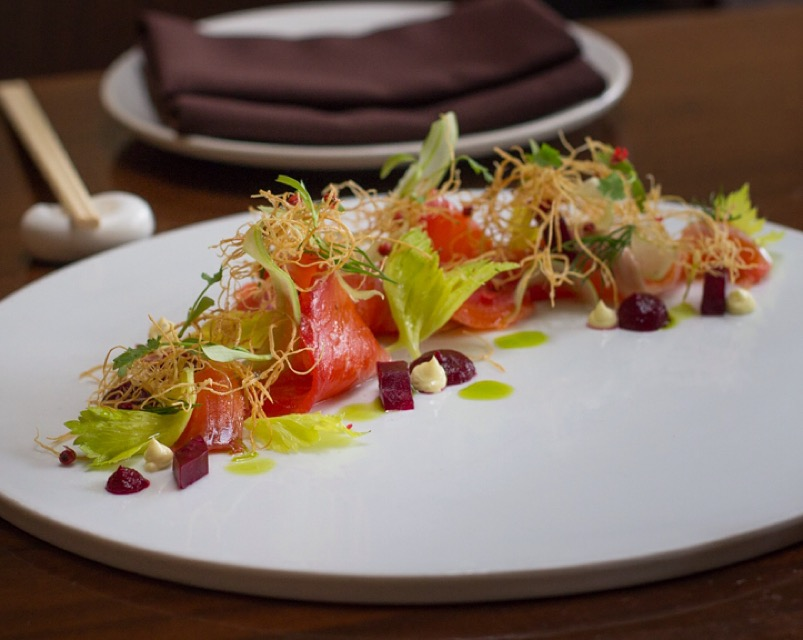 Beet-cured trout from Iyasare. Photo: Ben Seto/Berkeleyside