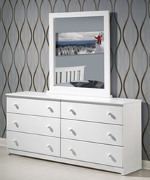 6 DRAWER SOLID WOOD WHITE DRESSER SHOWN WITH OPTIONAL MIRROR