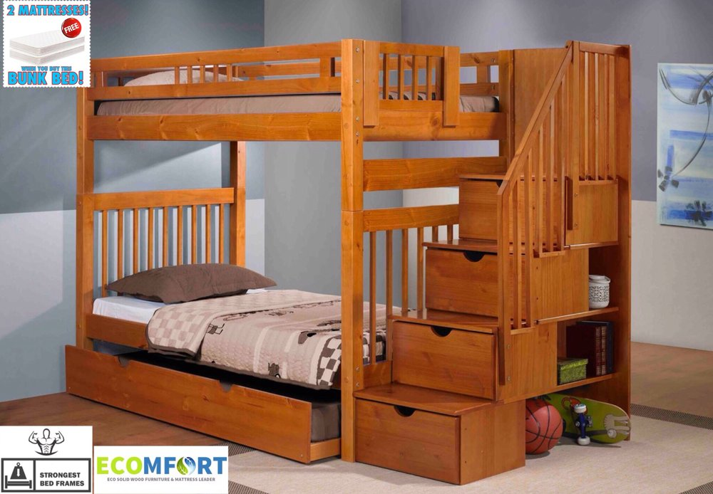 Platform Bednew England Solid Wood Staircase Bunk Bed Shown With