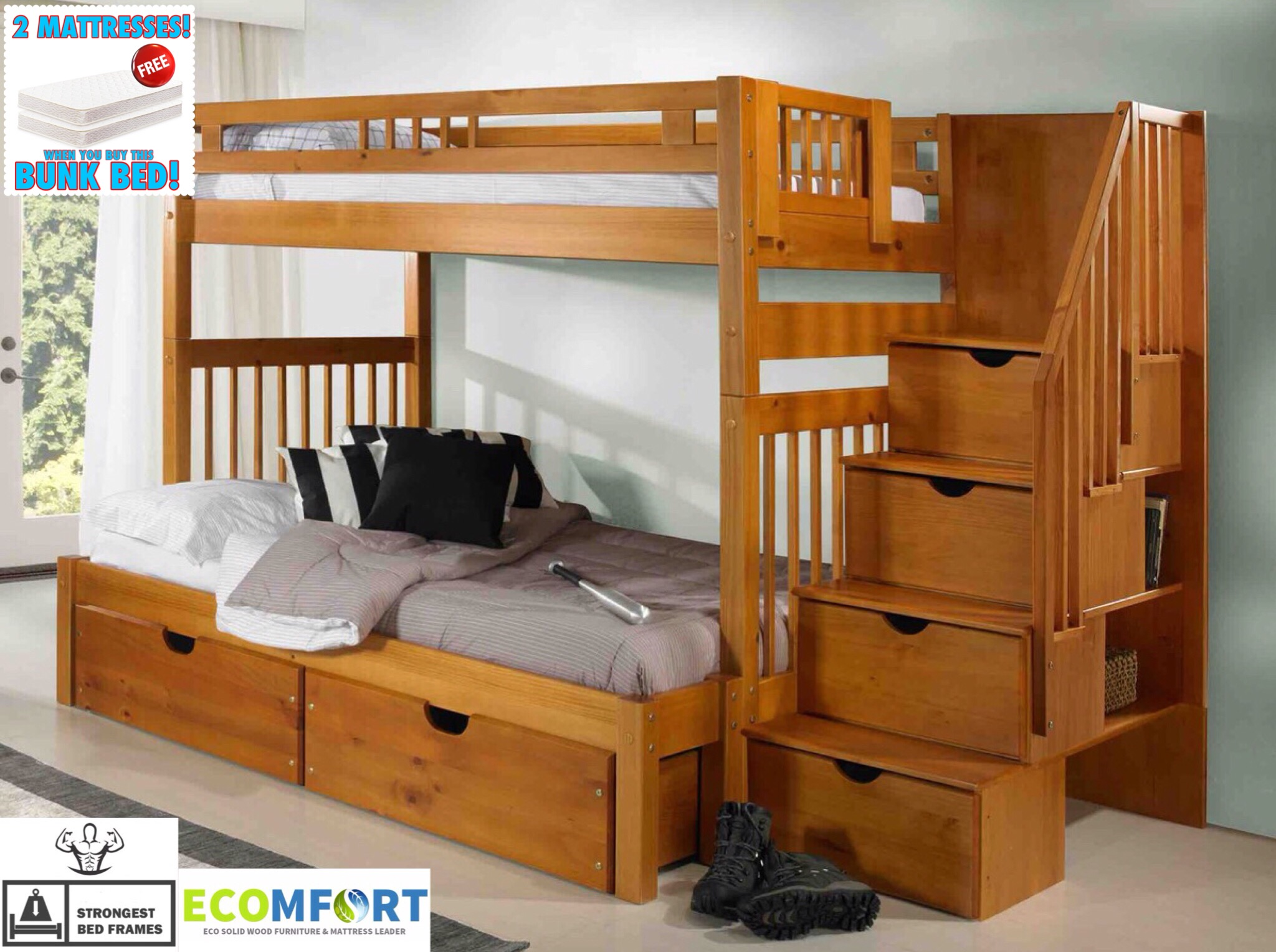 platform bednew england solid wood twin full staircase bunk bed