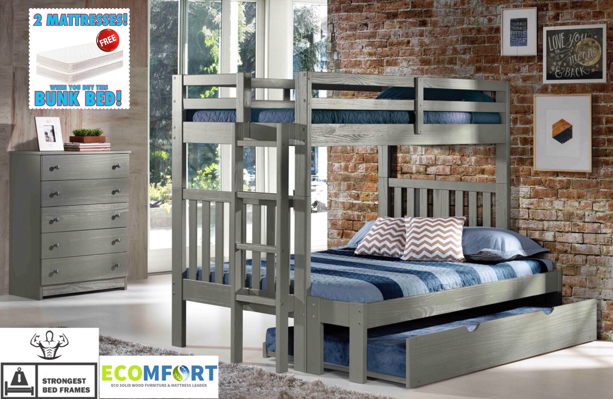 platform bedmy rustic solid wood twin full bunk bed shown with