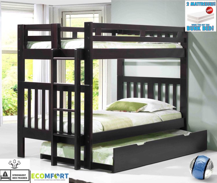 Platform Bedboston Solid Wood Bunk Bed Shown With Optional Roll Out