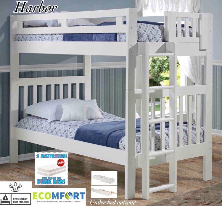 Platform Bedharbor Solid Wood Bunk Bed In White Bunk Bedharbor