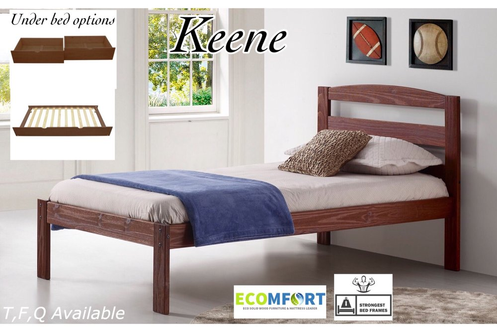 YOUR CHOICE!  When a Universal end is used, a  twin or full  Keene platform bed fits underneath your loft bed at an additional cost.
