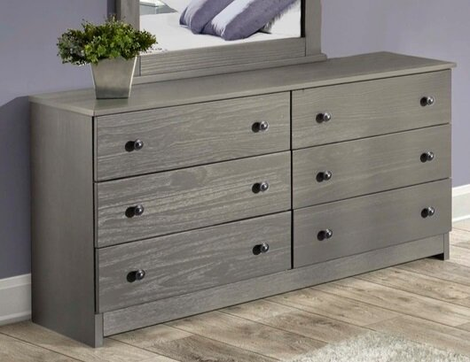 Platform Bed6 Drawer Solid Wood Dresser Shown In Graybunk Bed6