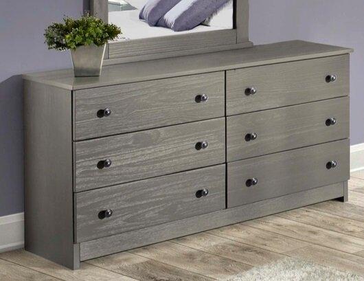 Platform Bed6 Drawer Solid Wood Dresser Shown In Graybunk Bed6