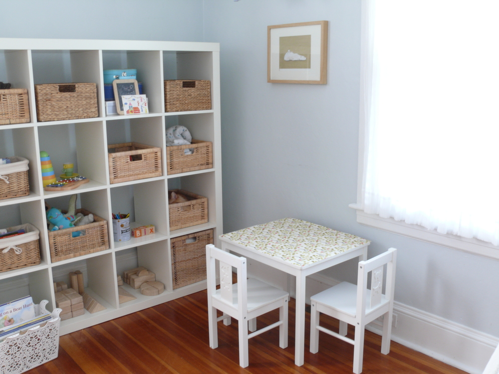 Light blue play room + nursery