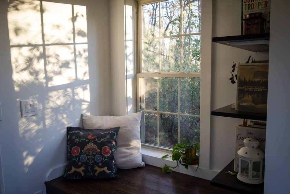 Tiny House Airbnb in North Carolina — window seat