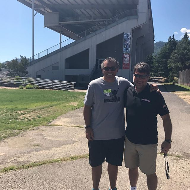 Had a great morning teaching YoMIND @yomindmatters to @sou_football @souraiders football team this morning. Here is head coach Charlie Hall with defensive coach Carlton Hall!  Yes, two Coach Halls!  #twohallsarebetterthanone #unlimitedpotential #yoga #yomindathlete #giveyourgifts #mindfulness #yomind #yomindmatters #souraiderfootball #souraidernation #kindnessisasuperpower #wechooselove #changetheworld