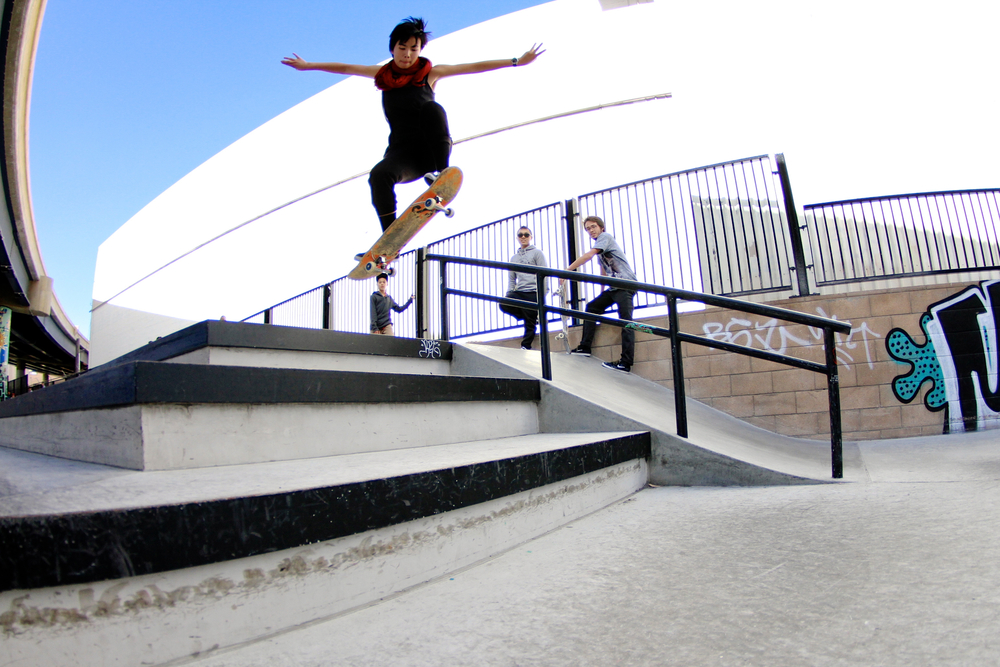 Kat Sy at SOMA Skate Park in San Francisco. Photo by Kim Woozy of @mahfia_tv