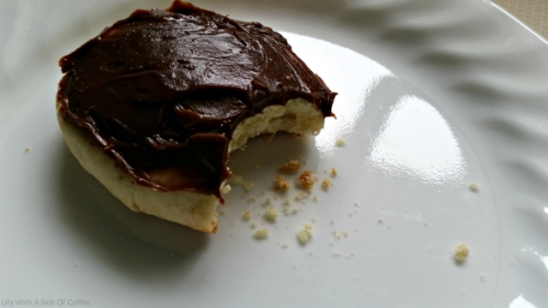 orange cookie with chocolate spread
