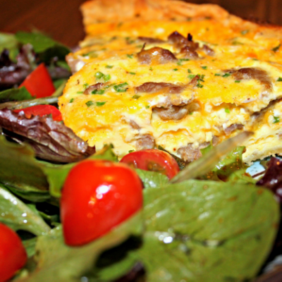 Sausage and Cheddar Quiche