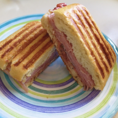 Ham & Brie Panini with Strawberry Chutney