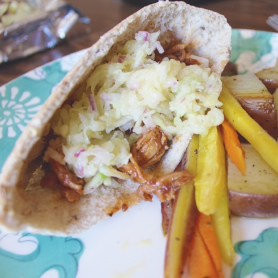 Pulled Pork Pita Pockets with Cucumber Apple Slaw