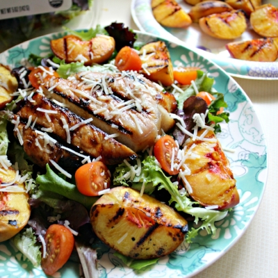 Grilled Peach & Spinach Salad with Honey Glazed Pork Chops