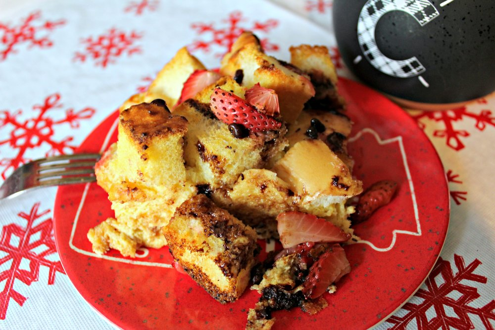 Strawberry Chocolate Chip French Toast Bake
