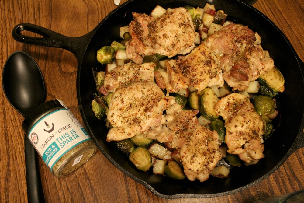Mediterranean Roasted Chicken with Potatoes & Brussels Sprouts