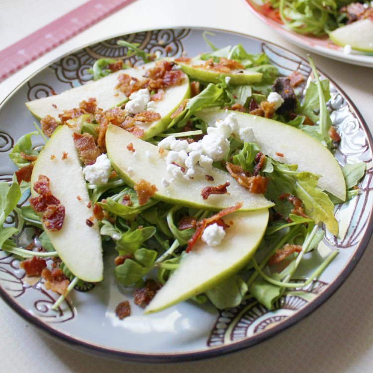 Arugula & Pear Salad with Goat Cheese Crumbles