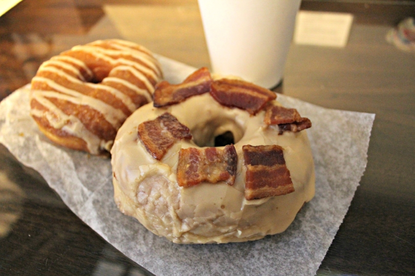 The Pumpkin Glazed Donut + Maple Bacon Donut from Union Square Donuts