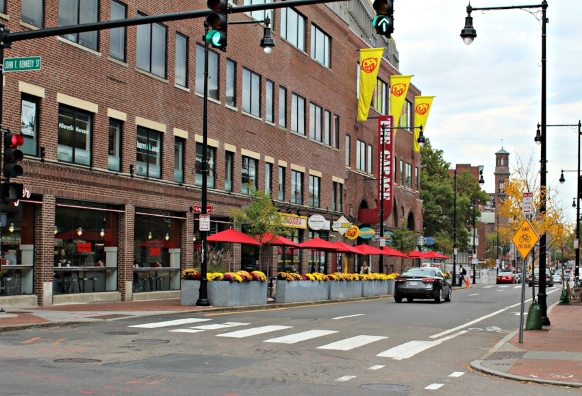 Harvard Square in downtown Cambridge
