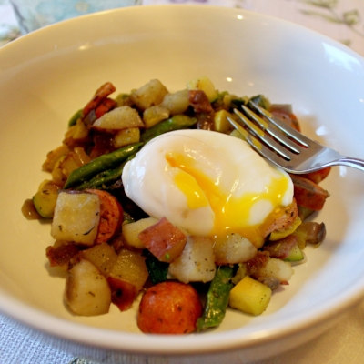 Summer Hash with Poached Eggs