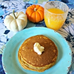 Pumpkin Pancakes with Cinnamon-Maple Butter