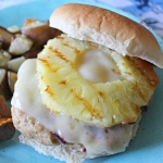 BBQ Chicken Burgers with Grilled Pineapple