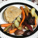 Pan Seared Pork Chops with Roasted Root Veggies