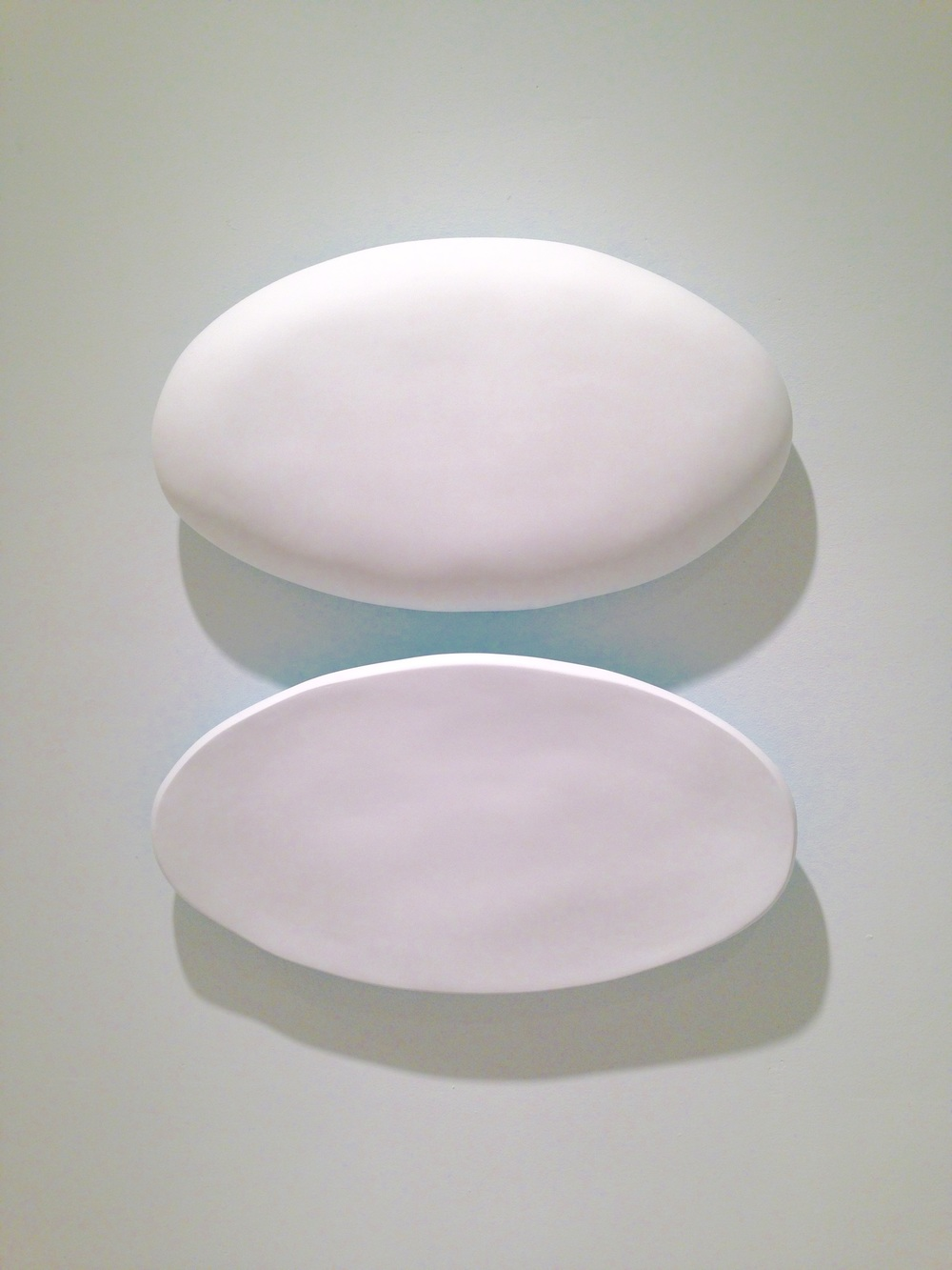 Untitled diptych fiberglass, hydrostone, paint 21 x 21 x 4 in 2014