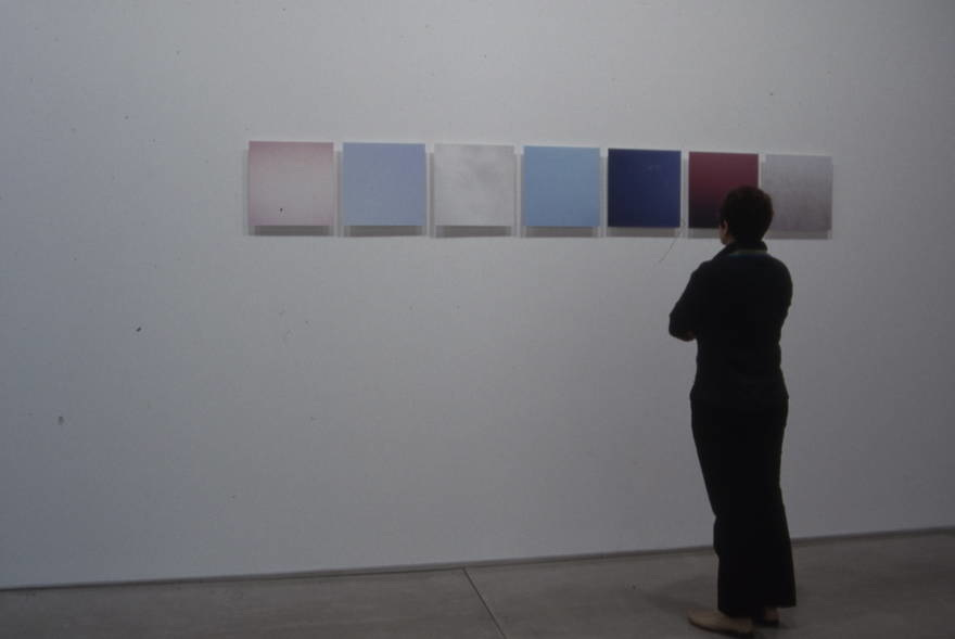 "Untitled, (skies, various familiar locations) 2003,   color photographs on plexiglas panels, 14"" x 14"" / ed 5"