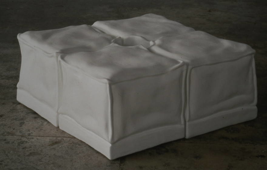 """Ottomans with invisible column""    hydrostone, fiberglass, enamel paint ,  each unit 2ft H x 2ft W x 2ft L"