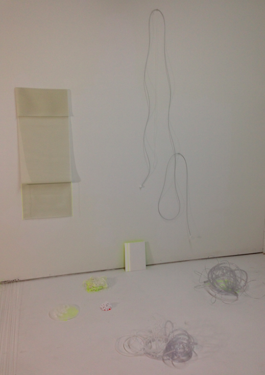 """improvisations, 2"" (series)     rubber, wire, canvas, wood, cotton balls, thread, plastic tube  dimensions variable  2014"