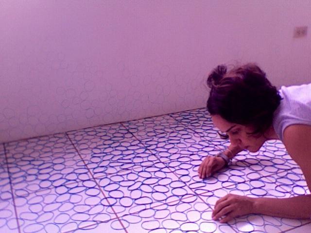 study for floor work blue rubber bands managua studio  2009