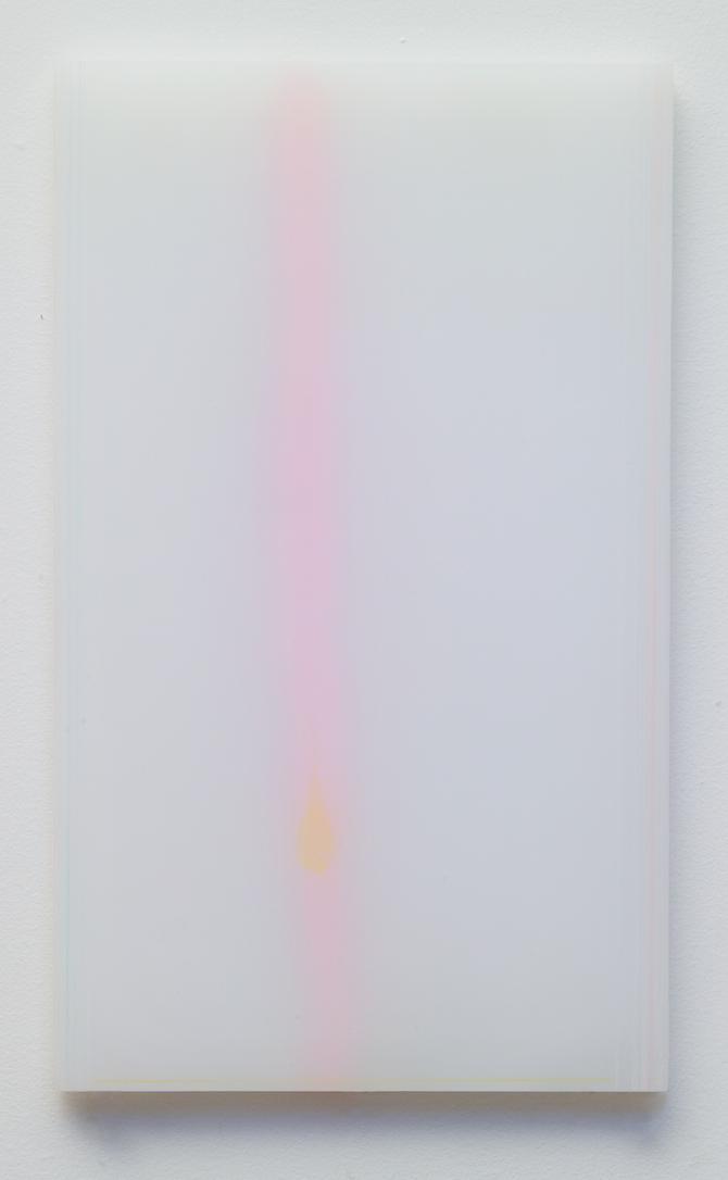 """powder drawings, 2"", (series) plexiglass, powder, color pencil  12 x 7 in 2004"