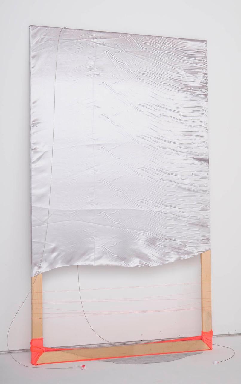 untitled, fabric, thread on wood 6 x 4 ft  2015