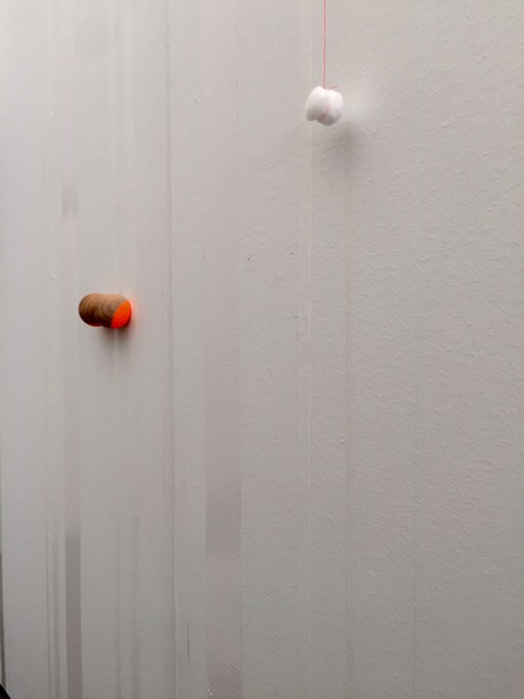 """untitled"", 2015 wood, paint, cotton ball on painted wall dimensions variable"