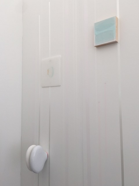 """untitled"", 2015 fiberglass, hydrostone, paint, plexiglass, wood on painted wall dimensions variable"