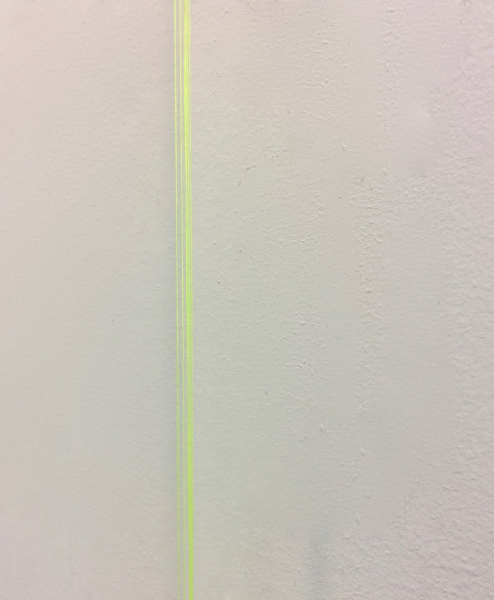 """Perfect imperfects"", 2017 corner, detail thread on corner floor to ceiling"