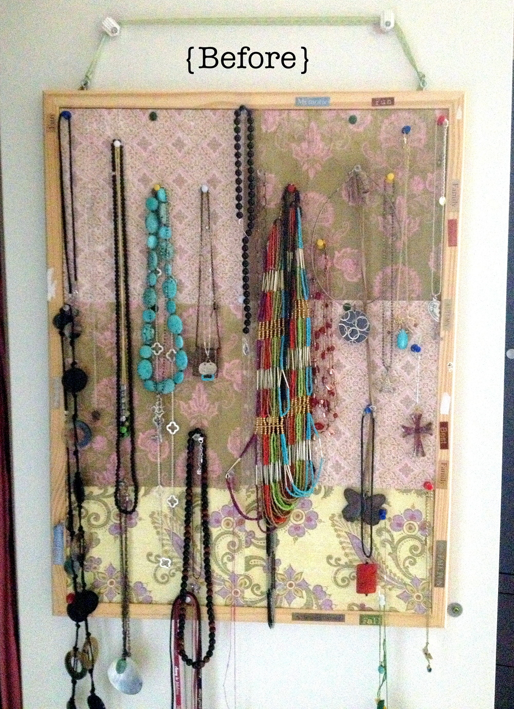 before jewellery hanger bulletin board