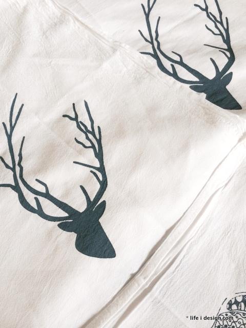Deer Antler silk screen Kitchen Towels