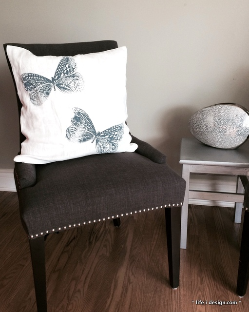 screen printed butterfly pillow by life i design