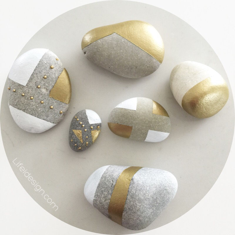 Gold painted rocks