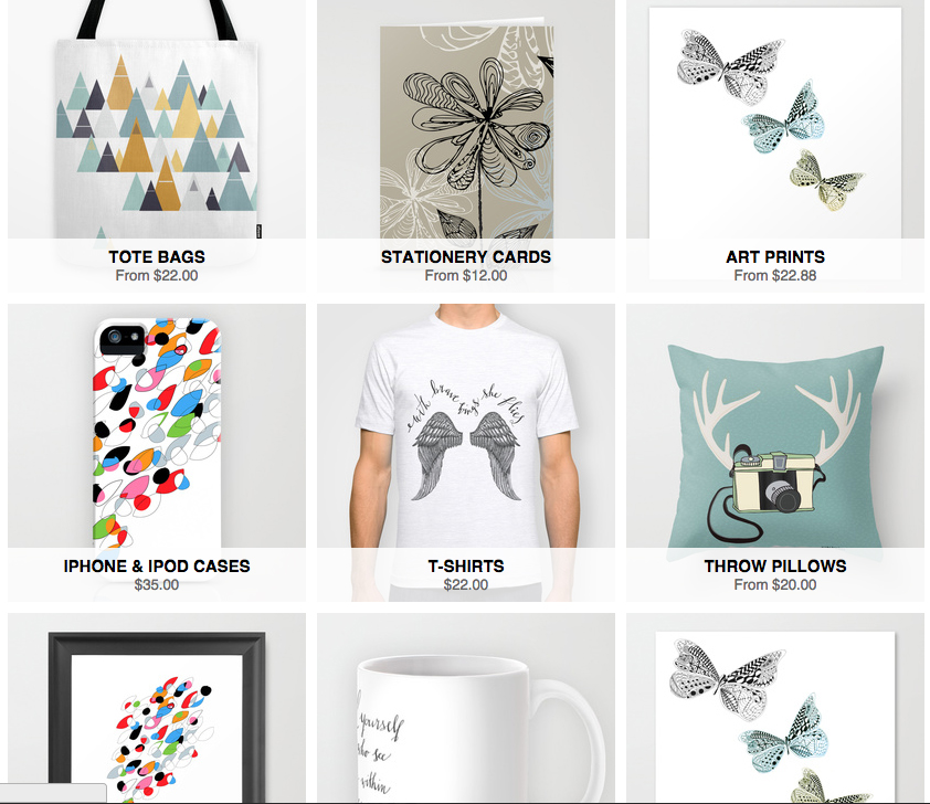 Shop home decor, clothing and tech cases!