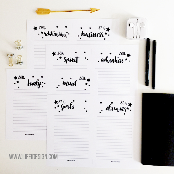 Pretty sheets to download and help you brainstorm intentions and goals for 2016 on lifeidesign.com