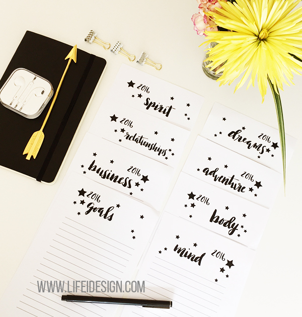 Easy and pretty sheets to help you figure out your goals and dreams for 2016 on lifeidesign.com